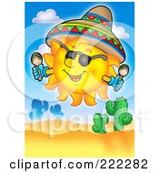 Royalty Free RF Clipart Illustration Of A Happy Mexican Summer Sun Wearing A Sombrero And Shaking Maracas Over A Desert by visekart