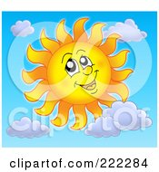 Royalty Free RF Clipart Illustration Of A Happy Summer Sun With Clouds