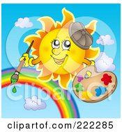 Royalty Free RF Clipart Illustration Of A Happy Summer Sun Painting A Rainbow