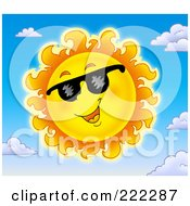 Royalty Free RF Clipart Illustration Of A Happy Summer Sun Wearing Shades