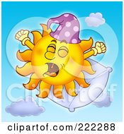 Royalty Free RF Clipart Illustration Of A Happy Summer Sun Yawning On A Pillow