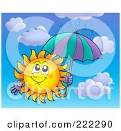 Royalty Free RF Clipart Illustration Of A Happy Summer Sun In The Rain With An Umbrella
