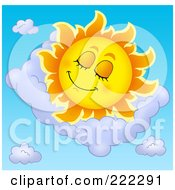 Royalty Free RF Clipart Illustration Of A Happy Summer Sun Sleeping In A Cloud by visekart