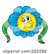 Royalty Free RF Clipart Illustration Of A Blue Daisy Character With Two Leaves