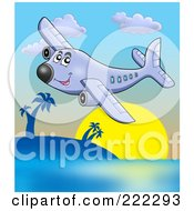 Royalty Free RF Clipart Illustration Of A Happy Airplane Flying Over A Tropical Island by visekart