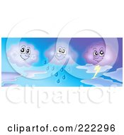Royalty Free RF Clipart Illustration Of Three Cloud Characters In A Gradient Sky