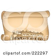 Royalty Free RF Clipart Illustration Of A Train On A Horizontal Parchment Paper