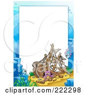 Royalty Free RF Clipart Illustration Of A Sunken Ship Frame Around White Space