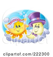 Royalty Free RF Clipart Illustration Of A Sun And Moon Bride And Groom by visekart