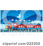 Royalty Free RF Clipart Illustration Of A Steam Train In A Winter Landscape At Night