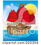Royalty Free RF Clipart Illustration Of A Chinese Ship Sailing At Sunset by visekart