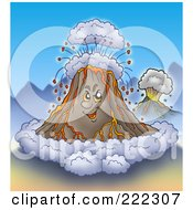 Grinning Volcano With Ash Clouds And Spurting Lava