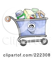 Royalty Free RF Clipart Illustration Of A Shopping Cart Character Full Of Items by visekart