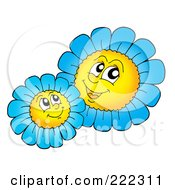 Royalty Free RF Clipart Illustration Of Blue Daisy Characters