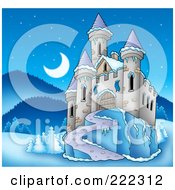 Royalty Free RF Clipart Illustration Of A Castle In A Frozen Night Landscape