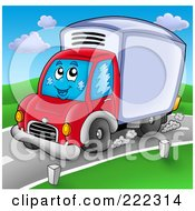 Royalty Free RF Clipart Illustration Of A Cute Big Rig Truck Driving On A Road by visekart
