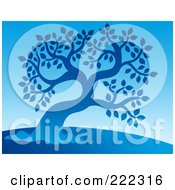 Royalty Free RF Clipart Illustration Of A Blue Silhouetted Tree On A Hill Over Blue