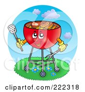 Royalty Free RF Clipart Illustration Of A Red Bbq Grill Cooking Outdoors by visekart