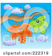 Royalty Free RF Clipart Illustration Of Happy Fall Leaves On A Branch Against The Sky by visekart