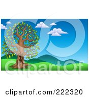 Royalty Free RF Clipart Illustration Of A Tall Oak Tree With A Hole In A Hilly Landscape