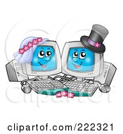 Royalty Free RF Clipart Illustration Of A Cute Computer Wedding Couple