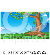 Royalty Free RF Clipart Illustration Of A Curving Tree Trunk In A Grassy Landscape