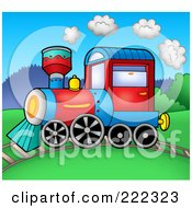 Royalty Free RF Clipart Illustration Of A Steam Train On A Track