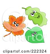 Royalty Free RF Clipart Illustration Of A Digital Collage Of Three Happy Leaves