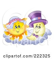 Royalty Free RF Clipart Illustration Of A Sun And Moon Wedding Couple by visekart