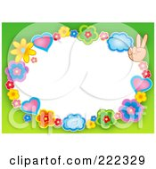 Royalty Free RF Clipart Illustration Of A Frame Of Hearts Clouds Flowers And Peace Hands With Green Around White Space
