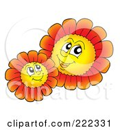 Royalty Free RF Clipart Illustration Of Red Daisy Characters