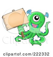 Royalty Free RF Clipart Illustration Of A Cute Green Monster Holding A Blank Wood Sign