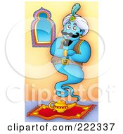 Royalty Free RF Clipart Illustration Of A Blue Genie Waiting To Serve His Master