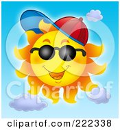 Royalty Free RF Clipart Illustration Of A Happy Summer Sun Wearing A Cap And Shades by visekart
