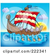 Royalty Free RF Clipart Illustration Of A Viking Ship Sailing At Sunset