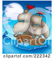 Royalty Free RF Clipart Illustration Of An Old Ship Sailing In The Moonlight by visekart