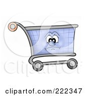 Royalty Free RF Clipart Illustration Of A Shopping Cart Character With A Sad Face by visekart