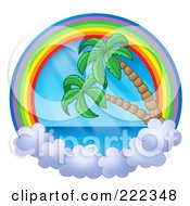 Royalty Free RF Clipart Illustration Of A Rainbow And Cloud Circle With The Sea And Palm Trees