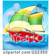 Royalty Free RF Clipart Illustration Of A Happy Sailboat At Sunset by visekart