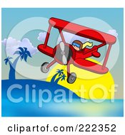 Royalty Free RF Clipart Illustration Of A Pilot Flying A Red Biplane In The Tropics