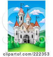 Royalty Free RF Clipart Illustration Of A Castle With A Partially Open Gate by visekart