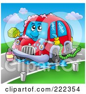Royalty Free RF Clipart Illustration Of A Car Character Breaking Down On A Road