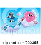 Royalty Free RF Clipart Illustration Of A Pink And Blue Wedding Heart Couple In The Sky by visekart