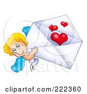 Royalty Free RF Clipart Illustration Of Cupid With A Valentine Envelope 2