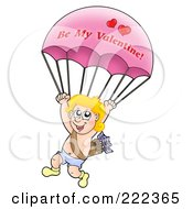 Royalty Free RF Clipart Illustration Of A Cupid With A Be My Valentine Parachute