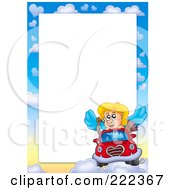 Royalty Free RF Clipart Illustration Of A Cupid Driving Border Around White Space