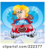 Royalty Free RF Clipart Illustration Of Cupid Driving A Car In The Sky