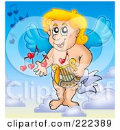 Royalty Free RF Clipart Illustration Of Cupid Playing A Lyre In The Sky