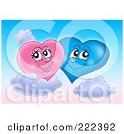 Royalty Free RF Clipart Illustration Of A Pink And Blue Heart Couple In The Sky