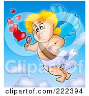 Royalty Free RF Clipart Illustration Of Cupid Blowing Heart Bubbles In The Sky by visekart